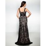 Formal Evening Dress - Black Trumpet/Mermaid Straps Sweep/Brush Train Satin Special Occasion Dresses