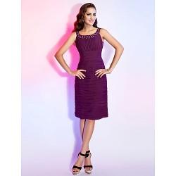 Dress Grape Plus Sizes Petite Sheath Column Scoop Knee Length Chiffon
