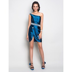Cocktail Party Dress - Ink Blue Plus Sizes / Petite Sheath/Column One Shoulder Short/Mini Stretch Satin
