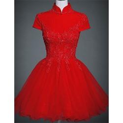 Cocktail Party Dress Ruby Plus Sizes A Line High Neck Short Mini Lace