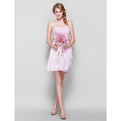 Short/Mini Chiffon Bridesmaid Dress - Candy Pink Plus Sizes / Petite Sheath/Column Sweetheart