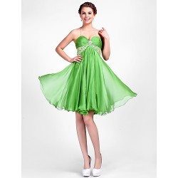 Cocktail Party Dress Clover Plus Sizes Petite A Line Princess Halter Sweetheart Knee Length Chiffon