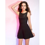 Cocktail Party / Holiday Dress - Black Petite Sheath/Column Bateau Short/Mini Rayon Special Occasion Dresses