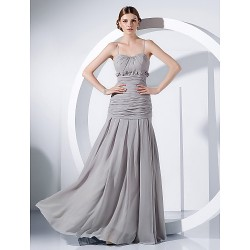Formal Evening Military Ball Dress Silver Plus Sizes Petite Sheath Column Spaghetti Straps Floor Length Chiffon