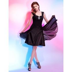 Cocktail Party Dress Black Plus Sizes Petite A Line Princess Straps Sweetheart Knee Length Chiffon