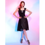 TS Couture Cocktail Party Dress - Black Plus Sizes / Petite A-line / Princess Straps / Sweetheart Knee-length Chiffon Special Occasion Dresses