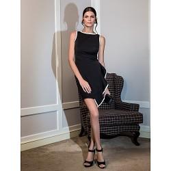 Cocktail Party Dress - Black Plus Sizes / Petite A-line Scoop Knee-length Jersey