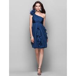 Cocktail Party Dress Ink Blue Plus Sizes Petite Sheath Column One Shoulder Knee Length Chiffon