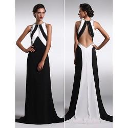 Formal Evening Dress Black Plus Sizes Petite Sheath Column Jewel Sweep Brush Train Satin Chiffon