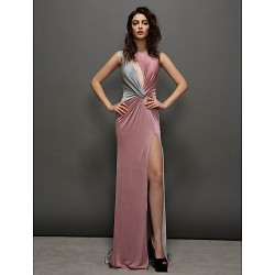 Formal Evening Dress Sheath Column Jewel Sweep Brush Train Jersey
