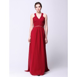 Formal Evening Dress Burgundy Plus Sizes Petite Sheath Column V Neck Sweep Brush Train Chiffon