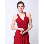 Formal Evening Dress - Burgundy Plus Sizes / Petite Sheath/Column V-neck Sweep/Brush Train Chiffon Special Occasion Dresses
