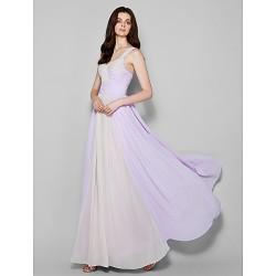 Floor Length Chiffon Bridesmaid Dress Lavender Plus Sizes Petite Sheath Column Straps