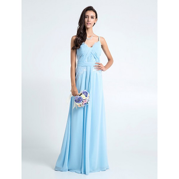 Floor-length Chiffon / Lace Bridesmaid Dress - Sky Blue Plus Sizes / Petite Sheath/Column Spaghetti Straps Special Occasion Dresses