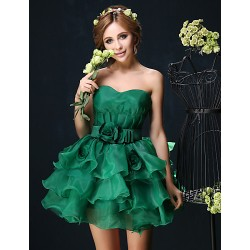 Cocktail Party Dress Dark Green White Petite Ball Gown Sweetheart Short Mini Organza