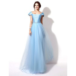 Formal Evening Dress - Grape / Sky Blue Plus Sizes / Petite A-line Sweetheart Floor-length