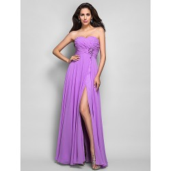 Dress - Lilac Plus Sizes / Petite Sheath/Column Sweetheart Floor-length Chiffon