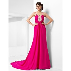 Formal Evening Dress - Fuchsia Plus Sizes / Petite A-line / Princess Sweetheart / Spaghetti Straps Court Train Chiffon