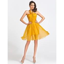 Cocktail Party Dress Gold Plus Sizes Petite A Line Princess Straps Sweetheart Knee Length Organza