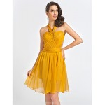 Cocktail Party Dress - Gold Plus Sizes / Petite A-line / Princess Straps / Sweetheart Knee-length Organza Special Occasion Dresses