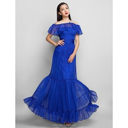 Formal Evening Prom Military Ball Dress Royal Blue Plus Sizes Petite A Line Strapless Ankle Length Chiffon