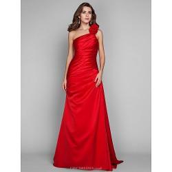 Formal Evening Prom Military Ball Dress Ruby Plus Sizes Petite Sheath Column One Shoulder Floor Length Satin