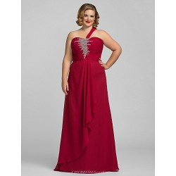 Formal Evening / Prom / Military Ball Dress - Burgundy Plus Sizes / Petite Sheath/Column One Shoulder Floor-length Chiffon