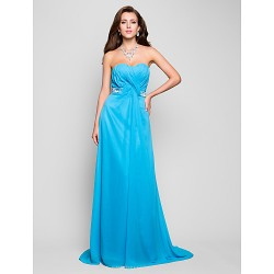 Formal Evening / Prom / Military Ball Dress - Pool Plus Sizes / Petite A-line / Princess Sweetheart / Strapless Floor-length Chiffon