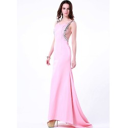 Formal Evening Dress Blushing Pink Plus Sizes Petite Sheath Column Jewel Sweep Brush Train Chiffon