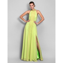 Formal Evening / Prom / Military Ball Dress - Lime Green Plus Sizes / Petite Sheath/Column High Neck Floor-length Chiffon