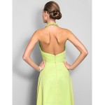 TS Couture Formal Evening / Prom / Military Ball Dress - Lime Green Plus Sizes / Petite Sheath/Column High Neck Floor-length Chiffon Special Occasion Dresses