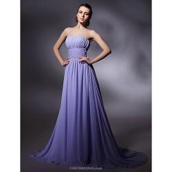 Formal Evening / Military Ball Dress - Lavender Plus Sizes / Petite Sheath/Column Strapless / Spaghetti Straps Sweep/Brush Train Chiffon