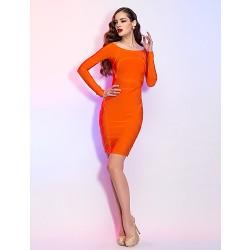 Cocktail Party Holiday Dress Orange Petite Sheath Column Bateau Short Mini Jersey