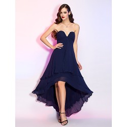 Cocktail Party / Homecoming / Holiday Dress - Dark Navy Plus Sizes / Petite A-line V-neck Asymmetrical Georgette