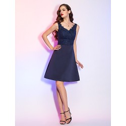 Cocktail Party / Holiday Dress - Dark Navy Plus Sizes / Petite A-line V-neck Short/Mini Satin / Lace