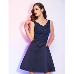 Cocktail Party / Holiday Dress - Dark Navy Plus Sizes / Petite A-line V-neck Short/Mini Satin / Lace Special Occasion Dresses