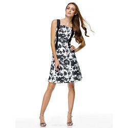 Cocktail Party Dress - Print A-line Straps Knee-length Polyester