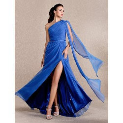 Formal Evening Prom Military Ball Dress Royal Blue Plus Sizes Petite A Line Princess One Shoulder Sweep Brush Train Chiffon