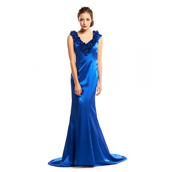 TS Couture Formal Evening Dress - Royal Blue Trumpet/Mermaid V-neck Court Train Charmeuse Special Occasion Dresses