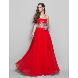 Formal Evening / Prom / Military Ball Dress - Ruby Plus Sizes / Petite A-line / Princess Strapless Floor-length Chiffon