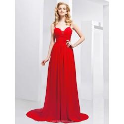 Formal Evening Dress Ruby Plus Sizes Petite A Line Princess Spaghetti Straps Sweetheart Sweep Brush Train Chiffon