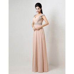 Formal Evening Dress - Pearl Pink Plus Sizes / Petite A-line Off-the-shoulder Floor-length