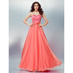 Formal Evening Dress - Watermelon Plus Sizes / Petite A-line Scoop Floor-length Chiffon
