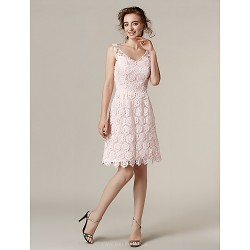 Knee-length Lace Bridesmaid Dress - Blushing Pink Plus Sizes / Petite A-line V-neck