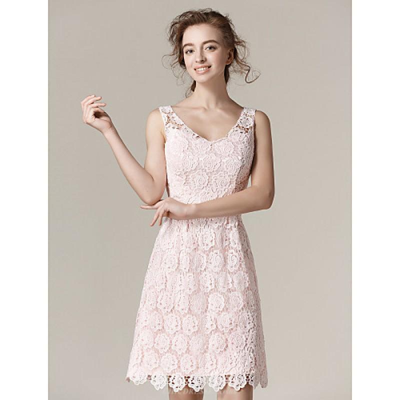 Knee Length Lace Bridesmaid Dress Blushing Pink Plus