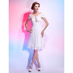 Cocktail Party Homecoming Graduation Dress White Plus Sizes Petite A Line Princess Off The Shoulder V Neck Knee Length Chiffon