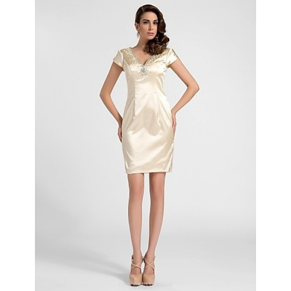 Cocktail Party Graduation Dress Champagne Plus Sizes Petite Sheath Column V Neck Short Mini Satin