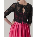 Dress - Fuchsia / Black Sheath/Column Scoop Floor-length Charmeuse Special Occasion Dresses