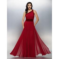 Formal Evening Dress Burgundy Plus Sizes Petite A Line One Shoulder Floor Length Chiffon Velvet