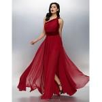 TS Couture Formal Evening Dress - Burgundy Plus Sizes / Petite A-line One Shoulder Floor-length Chiffon / Velvet Special Occasion Dresses